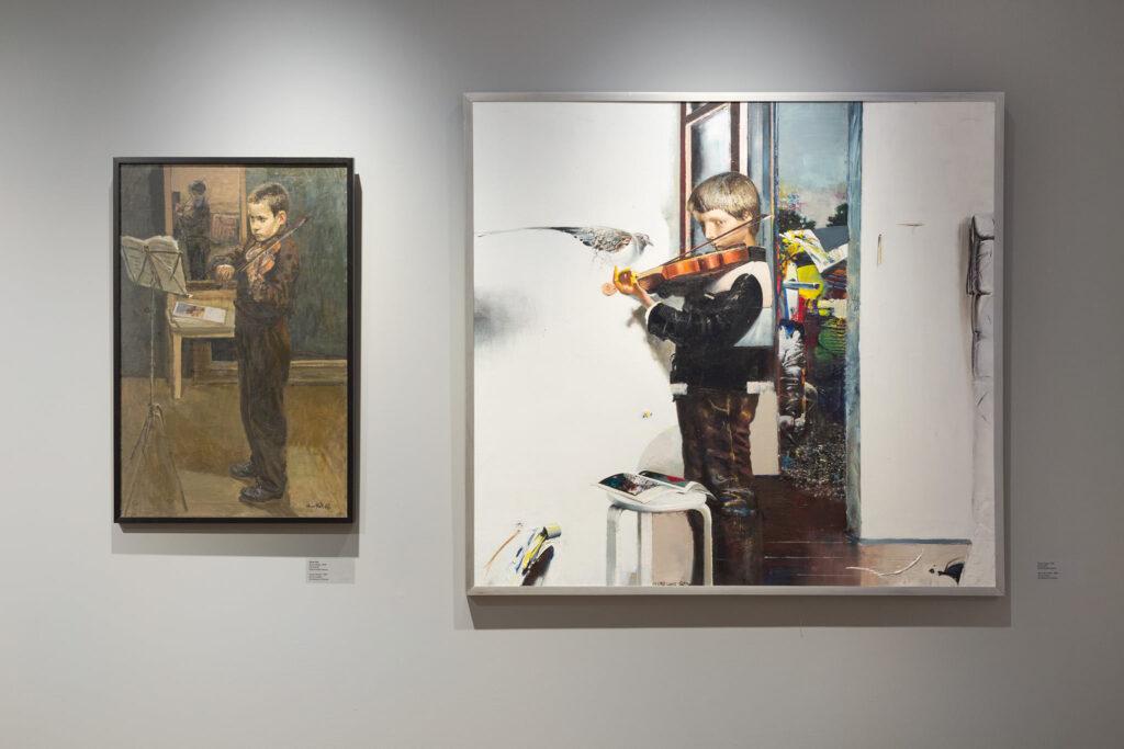 """Элмар Китс """"Молодой скрипач"""" (1956), Тийт Пяэсуке """"Мальчик со скрипкой"""" (1980)/ Тартуский художественный музей"""